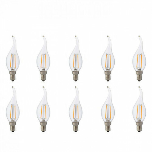 LED Lamp 10 Pack - Kaarslamp - Filament Flame - E14 Fitting - 4W - Natuurlijk Wit 4200K