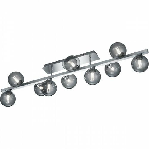 LED Plafondlamp - Plafondverlichting - Trion Alionisa - G9 Fitting - 10-lichts - Rechthoek - Glans Chroom Rookglas - Aluminium