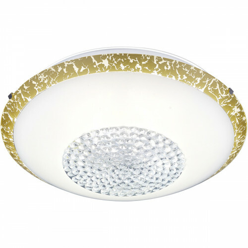LED Plafondlamp - Plafondverlichting - Trion Camaso - 20W - Warm Wit 3000K - Rond - Mat Wit - Glas