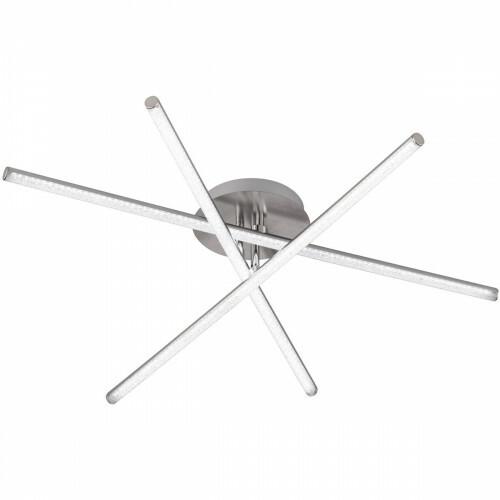 LED Plafondlamp - Plafondverlichting - Trion Choso - 24W - Natuurlijk Wit 4000K - 3-lichts - Rechthoek - Mat Nikkel - Aluminium