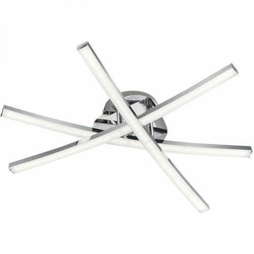 LED Plafondlamp - Plafondverlichting - Trion Cipolo - 15W - Warm Wit 3000K - Rechthoek - Glans Chroom - Aluminium