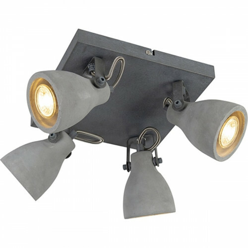 LED Plafondspot - Trion Conry - GU10 Fitting - 4-lichts - Vierkant - Mat Grijs Beton Look - Aluminium