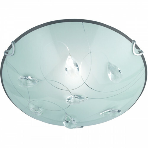 LED Plafondlamp - Plafondverlichting - Trion Corado - E27 Fitting - 1-lichts - Rond - Mat Chroom - Aluminium