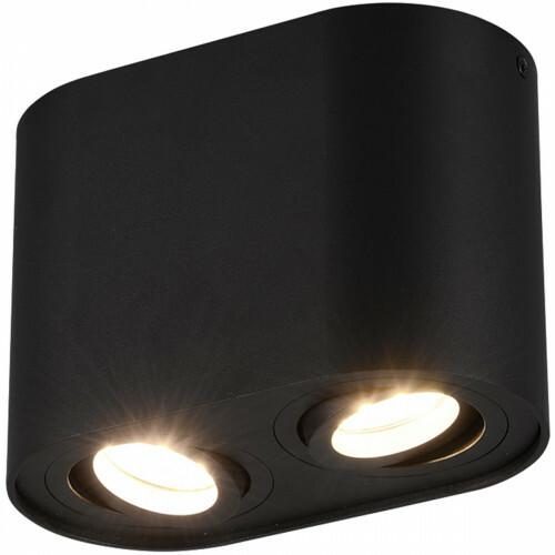 LED Plafondlamp - Plafondverlichting - Trion Cosmin - GU10 Fitting - 2-lichts - Rechthoek - Mat Zwart - Aluminium