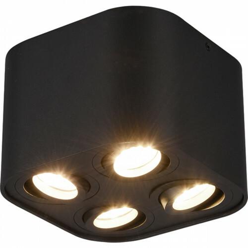 LED Plafondlamp - Plafondverlichting - Trion Cosmin - GU10 Fitting - 4-lichts - Vierkant - Mat Zwart - Aluminium