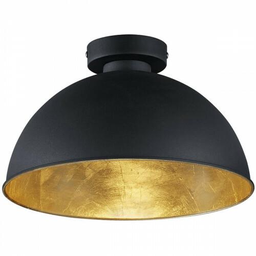 LED Plafondlamp - Plafondverlichting - Trion Jin - E27 Fitting - Rond - Mat Zwart - Aluminium