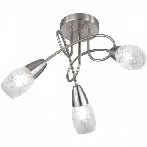 LED Plafondlamp - Plafondverlichting - Trion Kalora - E14 Fitting - Rond - Mat Nikkel - Aluminium
