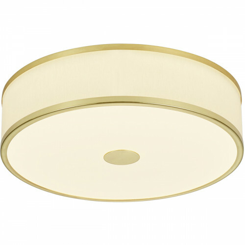 LED Plafondlamp - Trion Agiany - Opbouw Rond - 24W - Dimbaar - Warm Wit 3000K - Mat Goud - Aluminium/Textiel