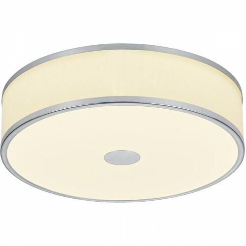 LED Plafondlamp - Trion Agiany - Opbouw Rond - 24W - Dimbaar - Warm Wit 3000K - Mat Nikkel - Aluminium/Textiel