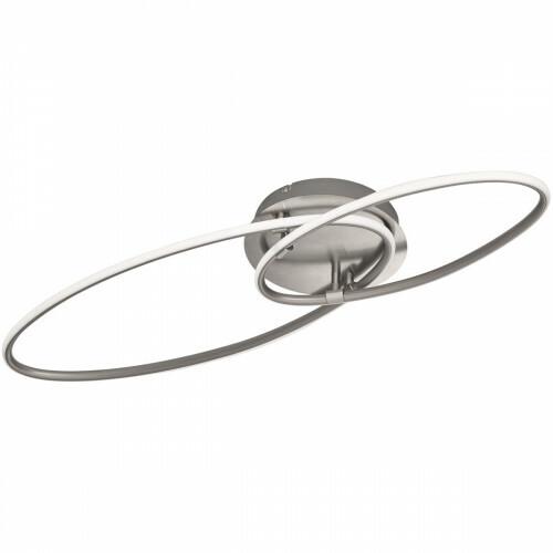 LED Plafondlamp - Trion Avinus - 35W - Warm Wit 3000K - Dimbaar - Ovaal - Mat Nikkel - Aluminium