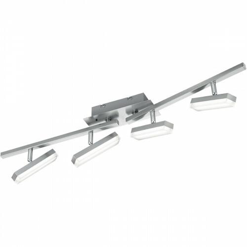 LED Plafondlamp - Trion Brenda - 12W - Warm Wit 3000K - 4-lichts - Dimbaar - Rechthoek - Mat Nikkel - Aluminium