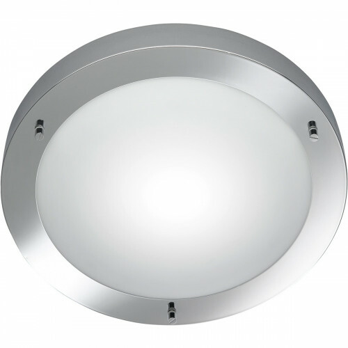 LED Plafondlamp - Trion Condi - Opbouw Rond - Spatwaterdicht IP44 - E27 Fitting - Glans Chroom Aluminium - Ø310mm