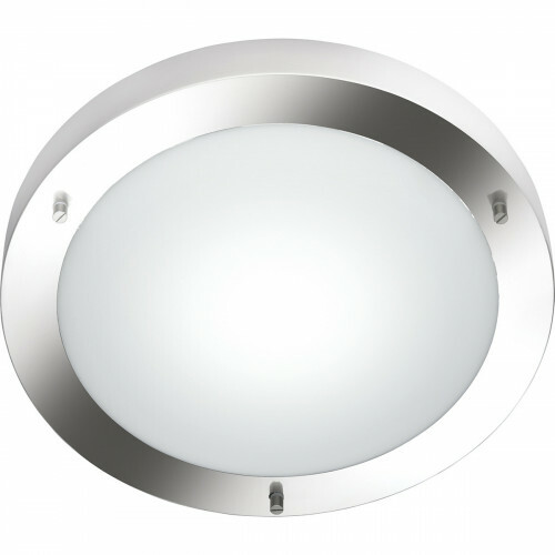 LED Plafondlamp - Trion Condi - Opbouw Rond - Spatwaterdicht IP44 - E27 Fitting - Mat Nikkel Aluminium - Ø310mm