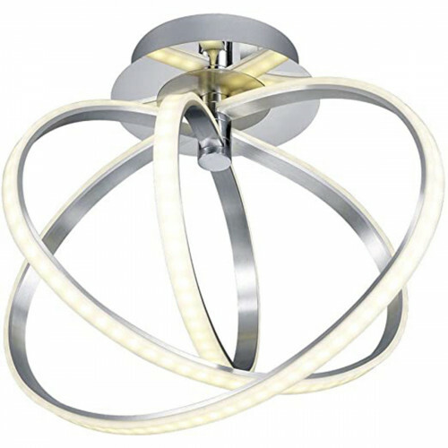 LED Plafondlamp - Trion Curli - 24W - Warm Wit 3000K - Dimbaar - Rond - Mat Chroom - Aluminium