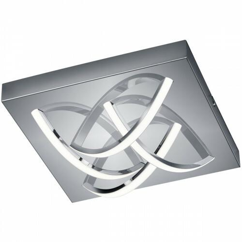 LED Plafondlamp - Trion Dinom - 16W - Warm Wit 3000K - 4-lichts - Dimbaar - Vierkant - Mat Chroom - Aluminium