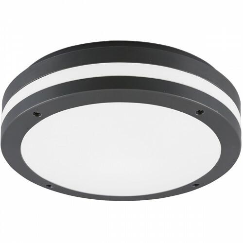 LED Plafondlamp - Trion Keraly - Opbouw Rond - Waterdicht - 12W - Warm Wit 3000K - Mat Antraciet - Kunststof