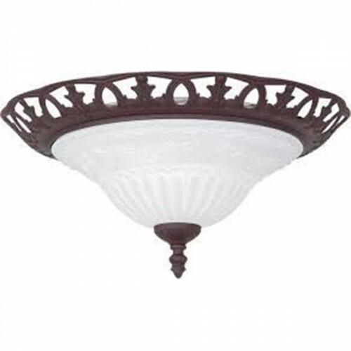LED Plafondlamp - Trion Rustina - Opbouw Rond - E27 Fitting - 2-lichts - Roestkleur - Aluminium