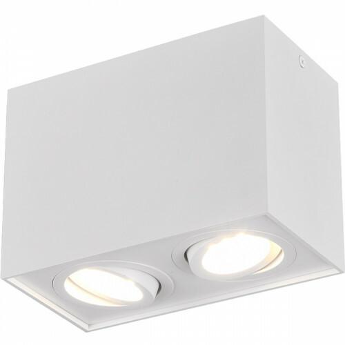 LED Plafondspot - Trion Bisqy - GU10 Fitting - 2-lichts - Rechthoek - Mat Wit - Aluminium
