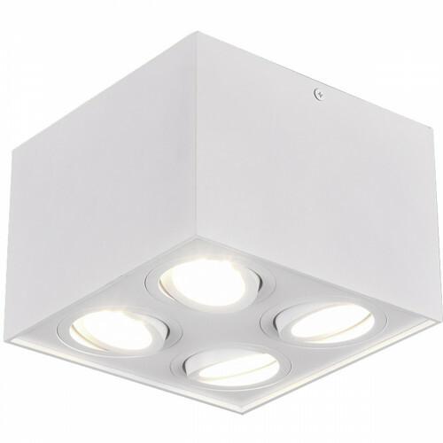 LED Plafondspot - Trion Bisqy - GU10 Fitting - 4-lichts - Vierkant - Mat Wit - Aluminium