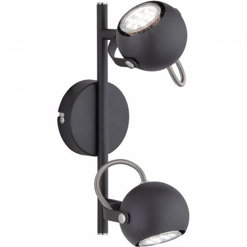 LED Plafondspot - Trion Bosty - GU10 Fitting - 2-lichts - Rond - Mat Zwart - Aluminium