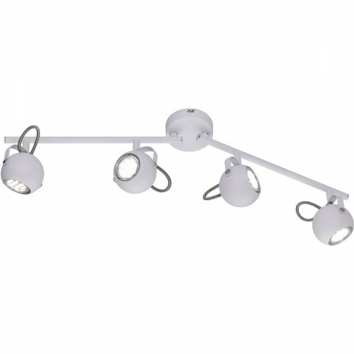 LED Plafondspot - Trion Bosty - GU10 Fitting - 4-lichts - Rond - Mat Wit - Aluminium