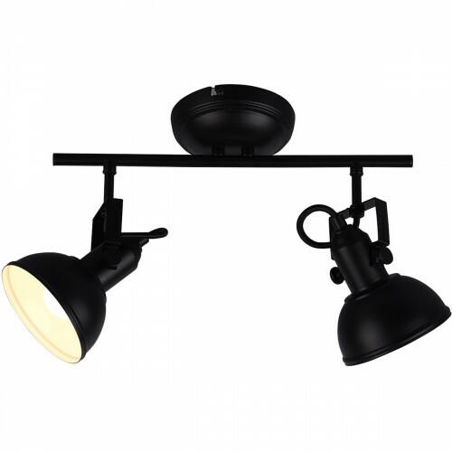 LED Plafondspot - Trion Gini - E14 Fitting - 2-lichts - Rond - Mat Zwart - Aluminium