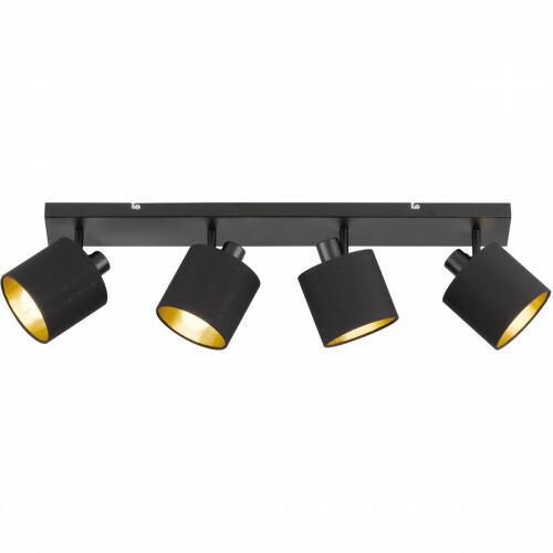 LED Plafondspot - Trion Torry - E14 Fitting - 4-lichts - Rechthoek - Mat Zwart - Aluminium