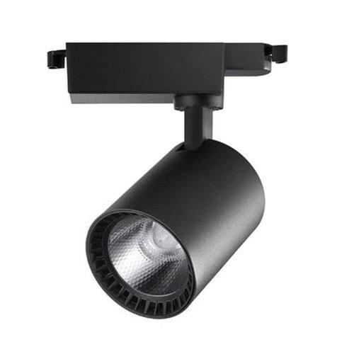 LED Railverlichting - Track Spot - Lion - 24W - 1 Fase - Rond - Natuurlijk Wit 4200K - Mat Zwart - Aluminium