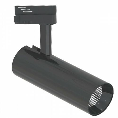 LED Railverlichting - Track Spot - Facto - 30W 1 Fase - Rond - Natuurlijk Wit 4000K - Glans Zwart Aluminium