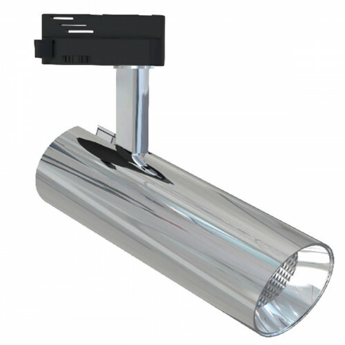 LED Railverlichting - Track Spot - Facto - 30W 1 Fase - Rond - Warm Wit 3000K - Glans Chroom Aluminium