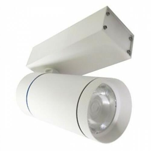 LED Railverlichting - Track Spot - Facto - 30W 3 Fase - Rond - Natuurlijk Wit 4000K - Mat Wit Aluminium