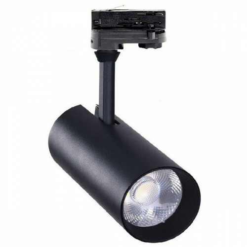 LED Railverlichting - Track Spot - Facto - 30W 3 Fase - Rond - Natuurlijk Wit 4000K - Mat Zwart Aluminium