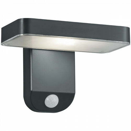 LED Solar Tuinverlichting - Wandlamp - Trion Escarino - Zonne-energie - Bewegingssensor - 4W - Mat Zwart - Kunststof