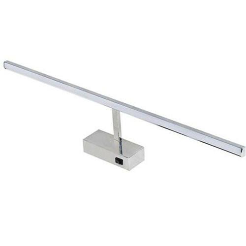 LED Spiegelverlichting - Schilderijverlichting - Rechthoek 12W - Glans Chroom Aluminium