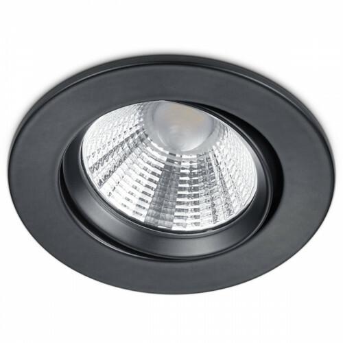 LED Spot - Inbouwspot - Trion Paniro - Rond 5W - Dimbaar - Warm Wit 3000K - Mat Zwart - Aluminium - Ø80mm