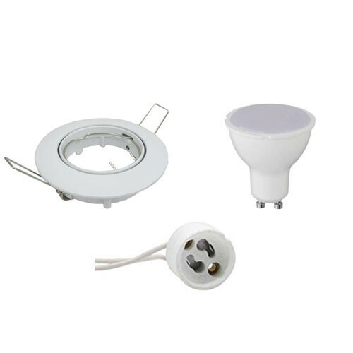 LED Spot Set - GU10 Fitting - Dimbaar - Inbouw Rond - Glans Wit - 6W - Warm Wit 3000K - Kantelbaar Ø80mm