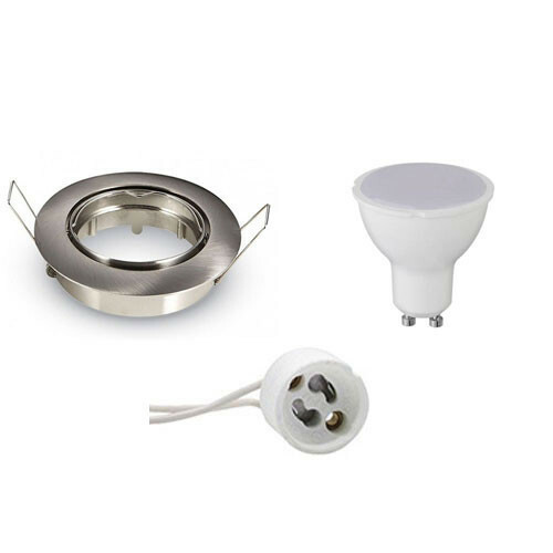 LED Spot Set - Aigi - GU10 Fitting - Inbouw Rond - Mat Chroom - 6W - Helder/Koud Wit 6000K - Kantelbaar Ø82mm
