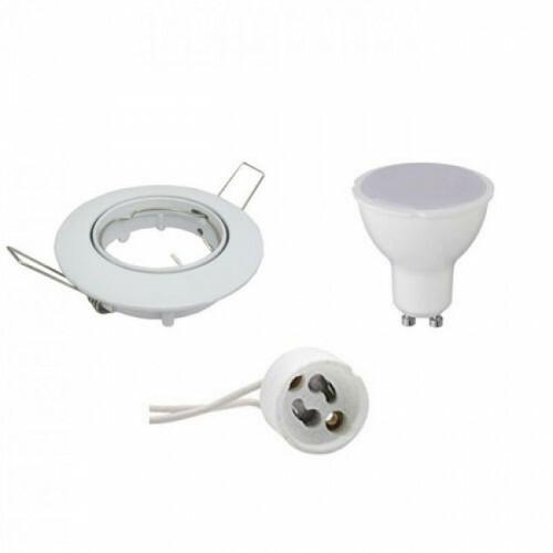 LED Spot Set - GU10 Fitting - Inbouw Rond - Glans Wit - 8W - Warm Wit 3000K - Kantelbaar Ø90mm