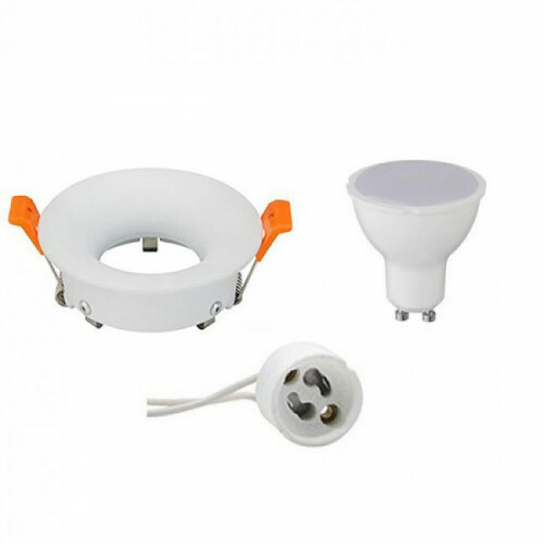 LED Spot Set - Aigi - GU10 Fitting - Inbouw Rond - Mat Wit - 8W - Helder/Koud Wit 6400K - Ø85mm