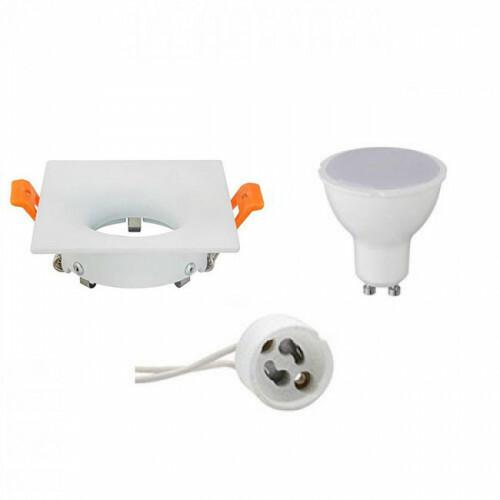 LED Spot Set - GU10 Fitting - Inbouw Vierkant - Mat Wit - 6W - Warm Wit 3000K - 85mm