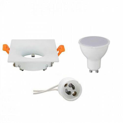 LED Spot Set - Aigi - GU10 Fitting - Inbouw Vierkant - Mat Wit - 8W - Helder/Koud Wit 6400K - 85mm