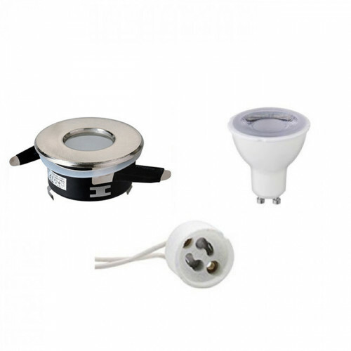 LED Spot Set - GU10 Fitting - Waterdicht IP65 - Dimbaar - Inbouw Rond - Mat Chroom - 6W - Warm Wit 3000K - Ø82mm
