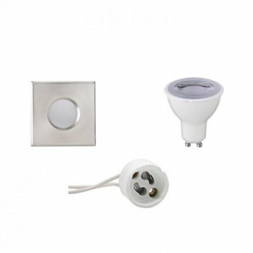 LED Spot Set - Aigi - GU10 Fitting - Waterdicht IP65 - Dimbaar - Inbouw Vierkant - Mat Chroom - 6W - Helder/Koud Wit 6400K - 82mm