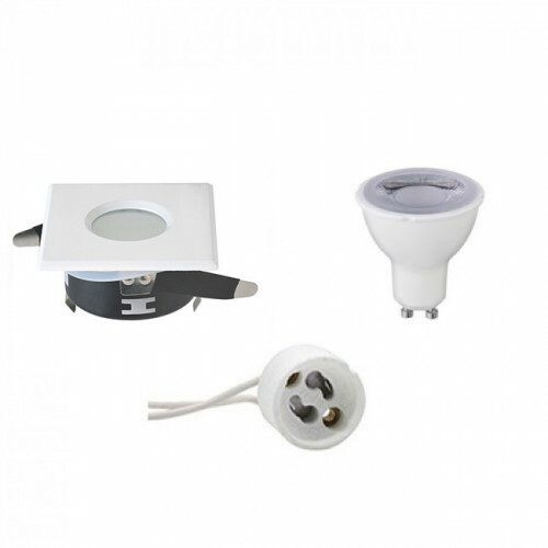 LED Spot Set - GU10 Fitting - Waterdicht IP65 - Dimbaar - Inbouw Vierkant - Mat Wit - 6W - Helder/Koud Wit 6400K - 82mm