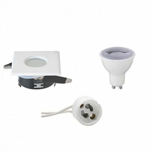 LED Spot Set - Aigi - GU10 Fitting - Waterdicht IP65 - Dimbaar - Inbouw Vierkant - Mat Wit - 6W - Natuurlijk Wit 4200K - 82mm