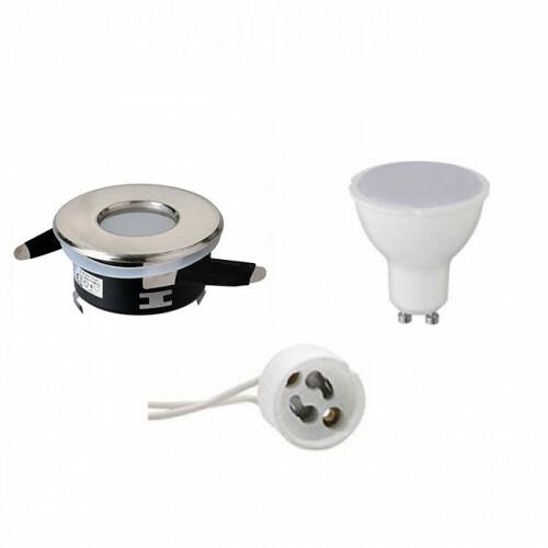 LED Spot Set - Aigi - GU10 Fitting - Waterdicht IP65 - Inbouw Rond - Mat Chroom - 4W - Helder/Koud Wit 6400K - Ø82mm