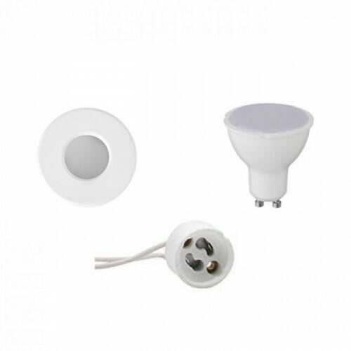 LED Spot Set - Aigi - GU10 Fitting - Waterdicht IP65 - Inbouw Rond - Mat Wit - 4W - Helder/Koud Wit 6400K - Ø82mm