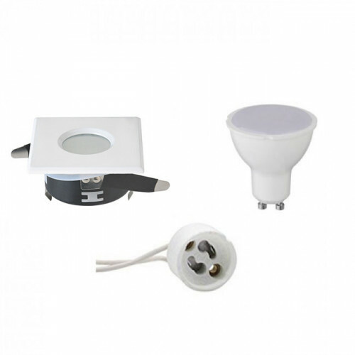 LED Spot Set - GU10 Fitting - Waterdicht IP65 - Inbouw Vierkant - Mat Wit - 6W - Helder/Koud Wit 6400K - 82mm