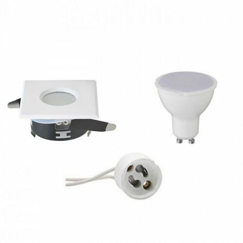 LED Spot Set - GU10 Fitting - Waterdicht IP65 - Inbouw Vierkant - Mat Wit - 6W - Warm Wit 3000K - 82mm