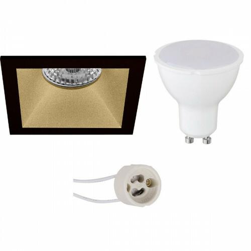 LED Spot Set - Pragmi Pollon Pro - GU10 Fitting - Dimbaar - Inbouw Vierkant - Mat Zwart/Goud - 6W - Natuurlijk Wit 4200K - Verdiept - 82mm